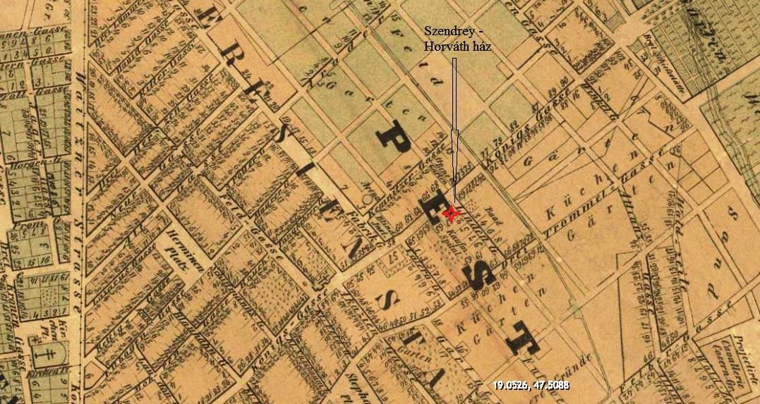 Részlet Pest-Buda belterületének német nyelvű várostérképéről, 1854.